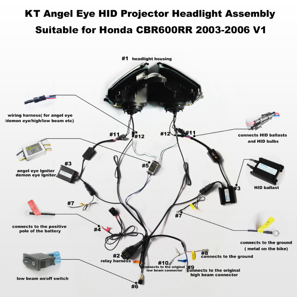 Kt Headlight For Honda Cbr600rr 2003 2006 Led Angel Eye Red Demon 2005 Cbr 600 Rr Color Wiring Diagram Motorcycle Hid Projector Assembly 2004 On Alibaba Group