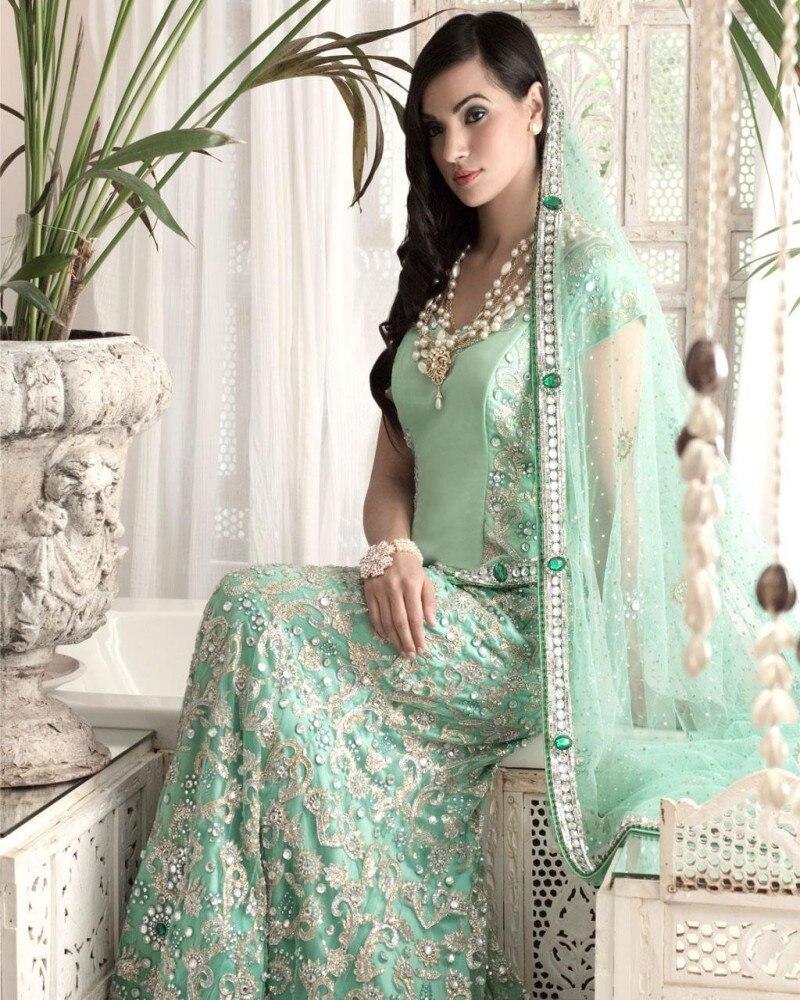 2d7601aa5bb8 2017 Indian Bridal Dress Evening Dress Scoop Embroidery Crystal Beaded  Stright Glamorous Mint Green Arabic Dubai Formal Dress