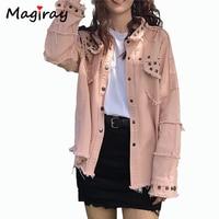 Magiray Vintage Fringe Jeans Jacket Women Coat 2019 Denim Rivet Frayed Big Size Loose Casual Female Top Toyouth Pink Coat C143