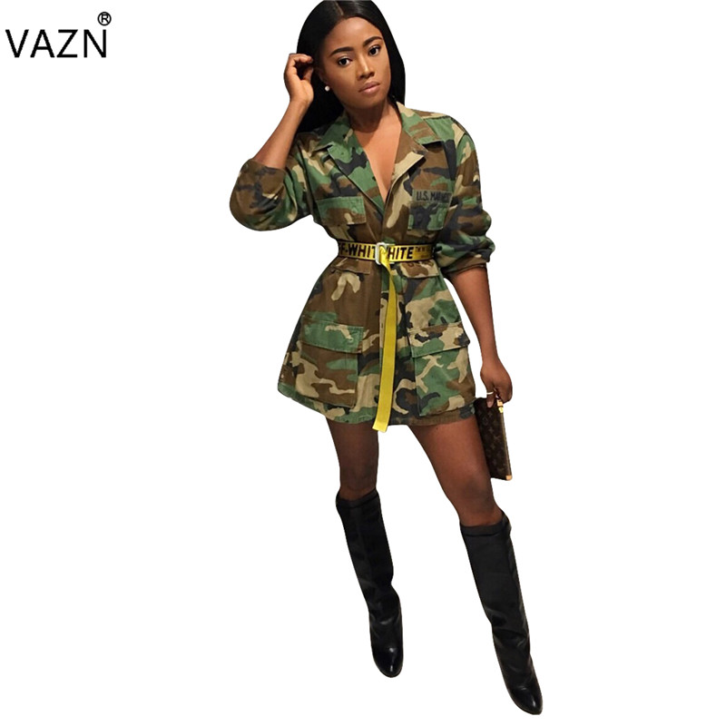 VAZN 2018 New Arrival High Fashion Bandage Dress Full Sleeve Print Dresses Women Short Casual Dress Q045