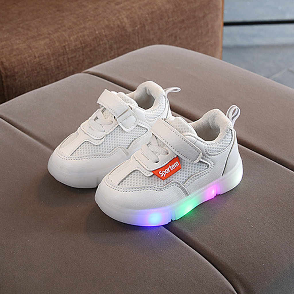 Toddler Infant Kids Baby Girls Mesh Breathable LED Luminous Sport Shoes Sneakers chaussures femme girl shoes
