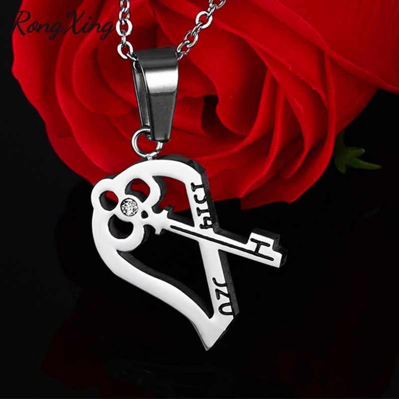 RongXing Creative Detachable Half Love Heart Pendants For Women Men Stainless Steel Couples Necklaces Fashion Valentine Gifts