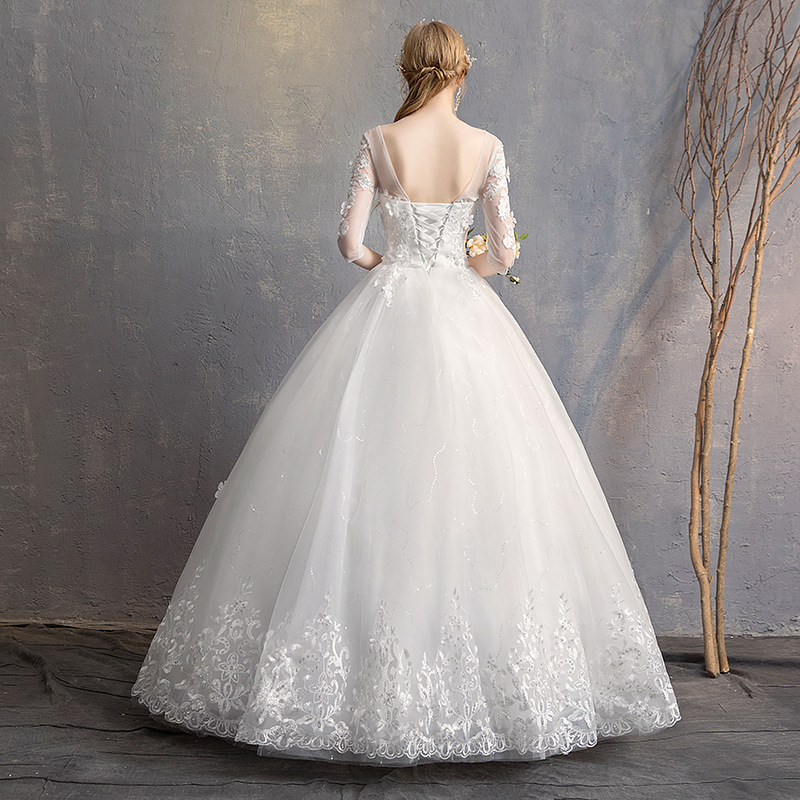Image 5 - Do Dower 2019 New O Neck Three Quarter Wedding Dress Princess Flower Beading Lace Up Floor Length Wedding Gown Robe De Mariee L-in Wedding Dresses from Weddings & Events