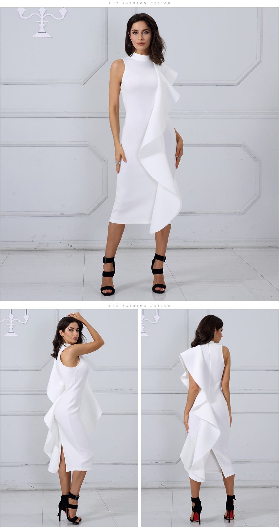 Adyce 2018 New Style Spring Dress Women Sexy White Sleeveless Patchwork Ruffles Bodycon Vestidos Celebrity Party Dress Clubwear 8