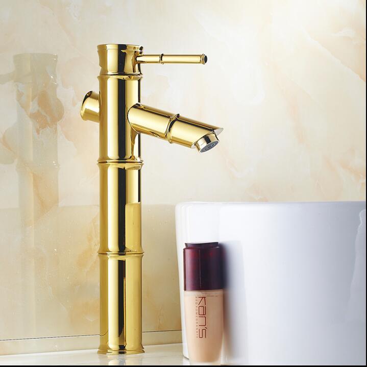 Modern Golden bamboo Bathroom Sink Faucet Soild Brass Mixer Tap bath ...