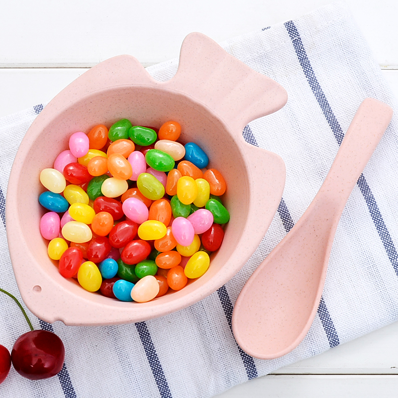 Wheat Straw Fish Baby Tableware Set Children Bowl Colher Baby Feeding Food Bamboo Plate Sub-grid Baby Dishes Eating Snack Bowl
