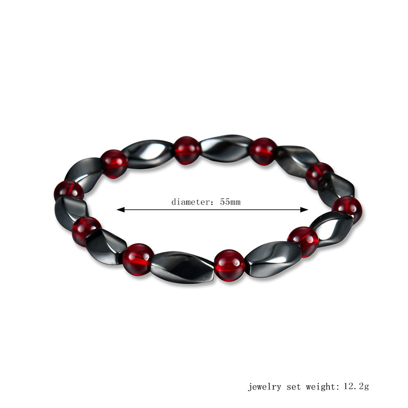 Men Women Bracelet Magnetic Black Hematite Beaded Vintage Ethnic Style Bracelets Jewelry Gift LL@17