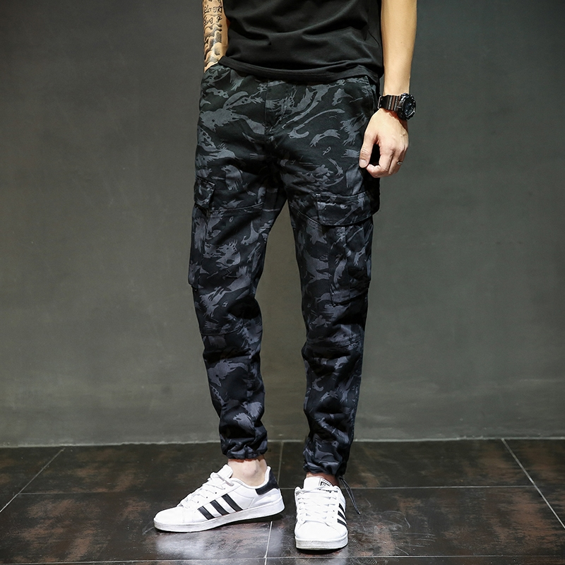 European American Fashion Streetwear Mens Jeans Jogger Pants Brand Clothing Navy Blue Color Ankle Banded Pants Denim Tied Jeans