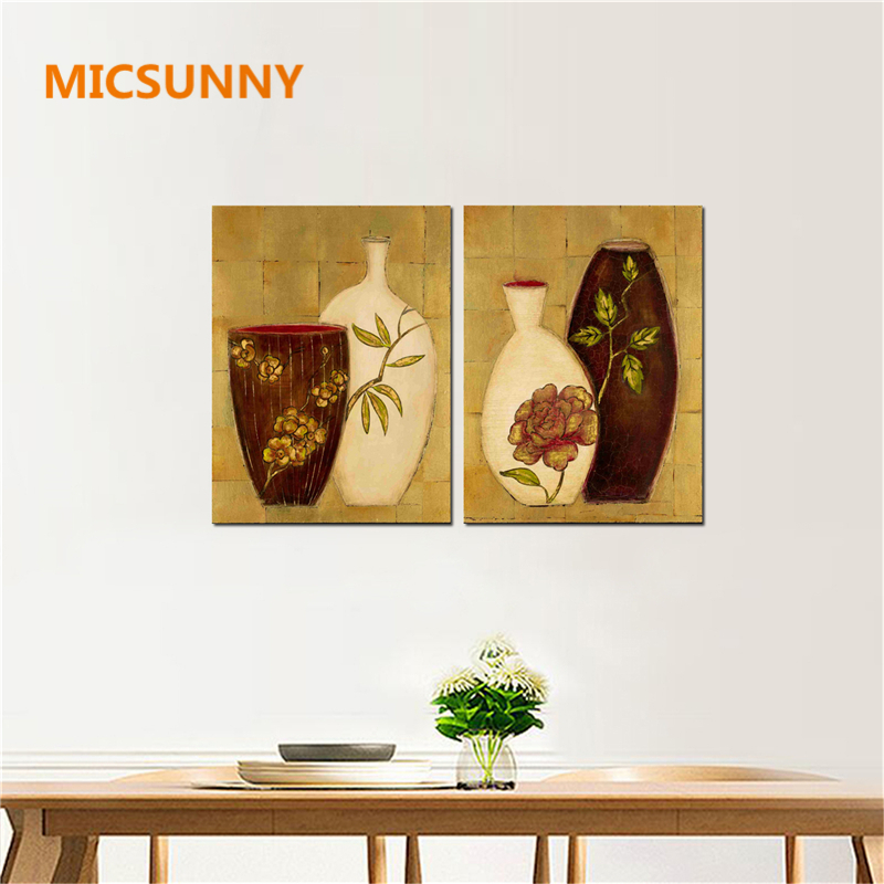 MICSUNNY Traditional Chinese Vase Artwork Paintings For Livis