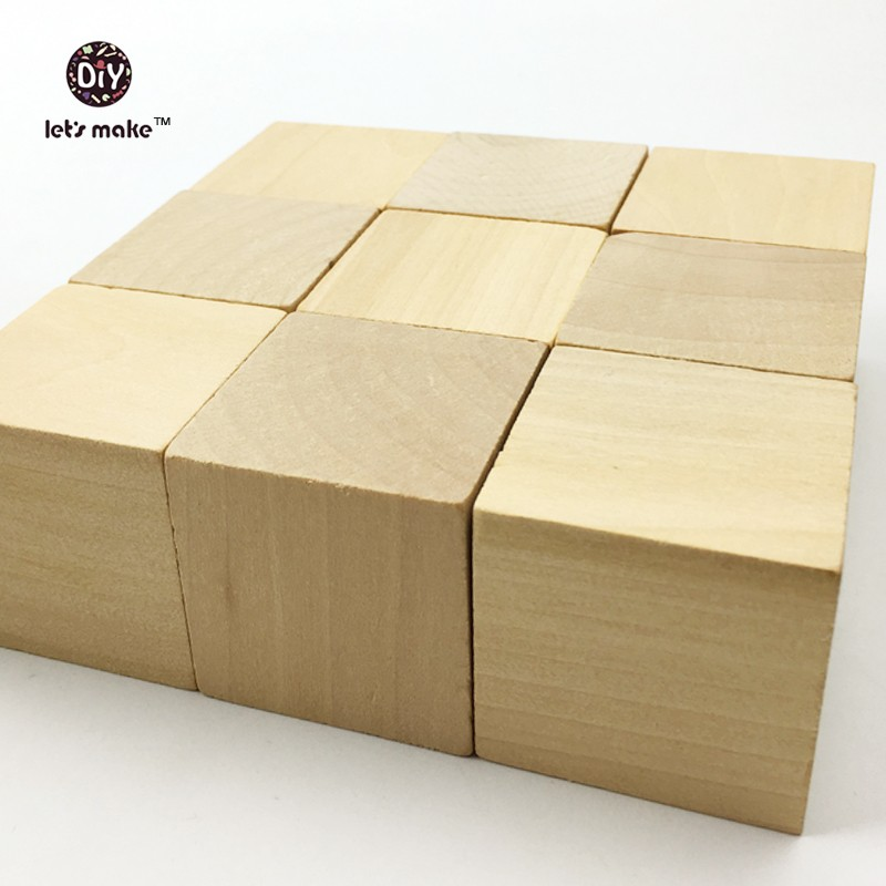 Lets Make Unfinished Wooden Block Cube carving Wood 1.6