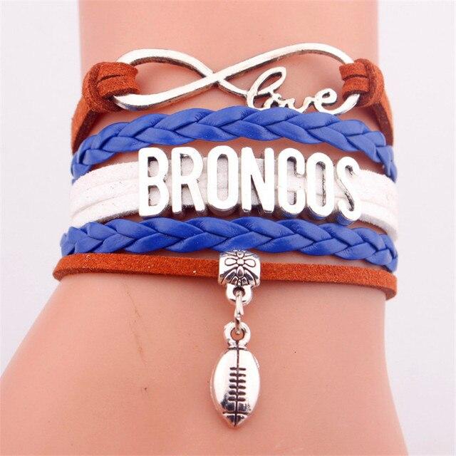 Infinity Denver Broncos Bracelet Football Charm Bracelets Bangles Sport Team Gift For Women Men Jewelry