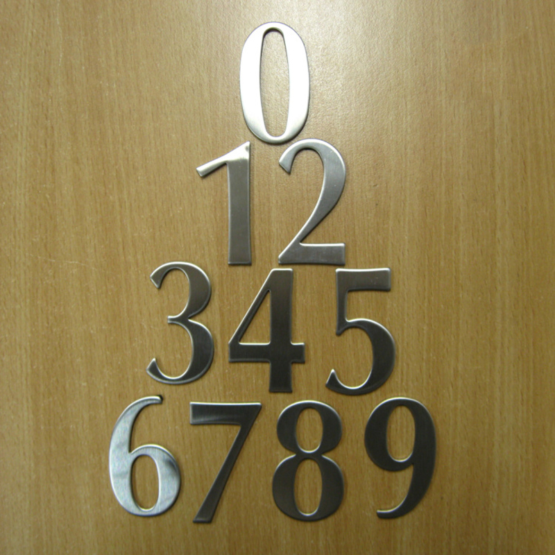 0 9 Modern House Numbers Stainless Steel Number Digits Sticker Plate Sign Size 6 2 3 5 1 9cm Door Letters Room Gate Number New in Plaques Signs from Home Garden