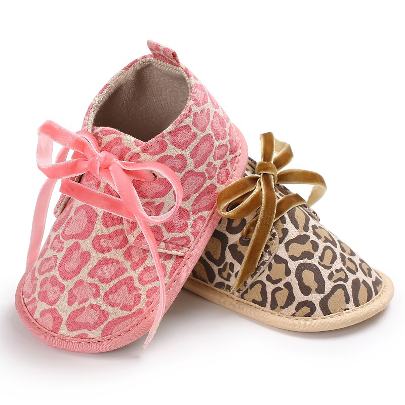 Baby Shoes Girls Boys Kids Crib Bebe First Walkers Leopard Lace-Up Sports Sneakers Infant Toddler Newborn Soft Soled Shoes