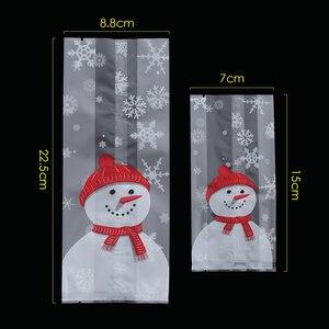 Image 3 - 50 Stks/partij Vrolijk Kerstfeest Bakken Verpakking Zakken Cartoon Kerst Kerstman Snowman Snack Snoep Zak Koekjes Snoep Opbergtas