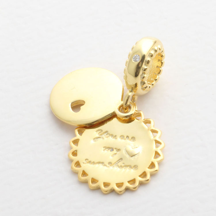 073c7ff0e ... 2018 Spring 925 Sterling Silver Bead Gold You Are My Sunshine Pendant  Charm Fit Original Pandora ...