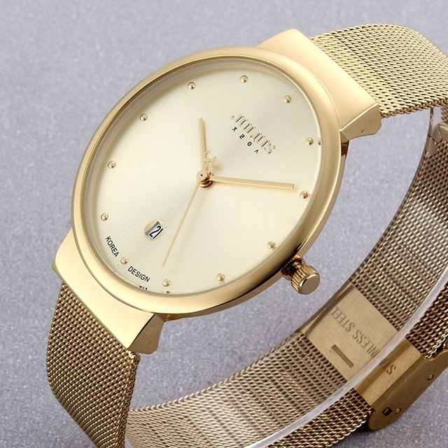 Super slim Quartz Casual Wristwatch Business JAPAN Julius Brand Stainless Steel  Analog Quartz Watch Men's relojes hombre 2016