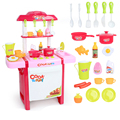 New Arrival Kids simulation kitchen toys Children play toys baby kitchen toys set with light & sound pink and red baby gifts