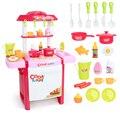 Nueva llegada niños simulación kitchen toys children play toys bebé cocina toys set con luz y sonido regalos del bebé de color rosa y rojo