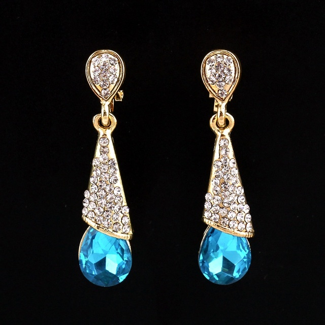 Blue Water Drop Dangle Earrings Gold C Austria Crystal Long Ear Clip Rhinestone Cz Women Party Engagement Wedding Jewelry