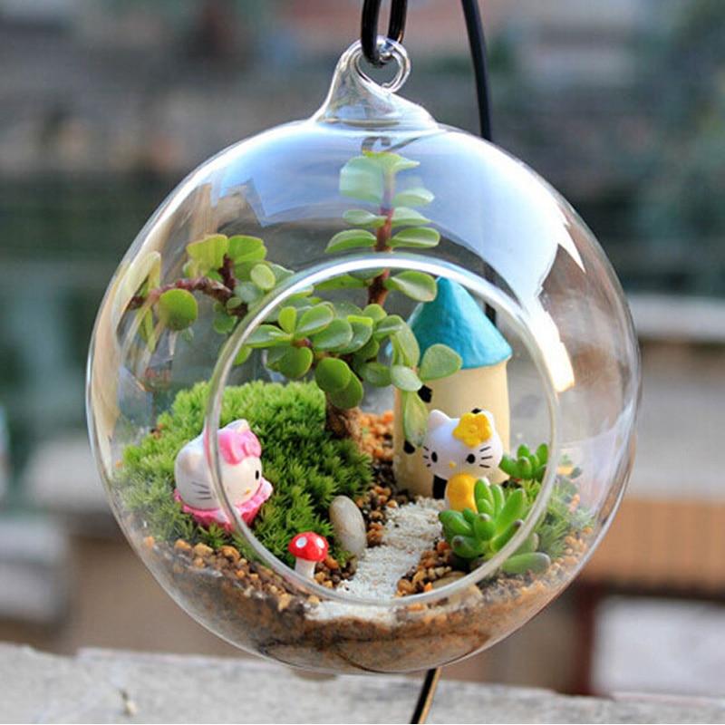 Transparent ball globe shape clear hanging glass vase flower plants terrarium container micro - Boule en verre pour plante ...