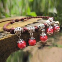 Ceramic red bead pendant vintage metal connection with rope chain delicate women anklet jewelry resizable length 19cm-38cm