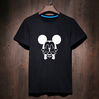 Unisex Style Mickey Fuck Letter Print T Shirt Female Tshirt Women Black Tee Shirts Bulldog King