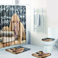4 sets bathroom carpet and rug Shower curtain and Toilet seat cover non slip carpet in bath mats bathroom toilet accessories