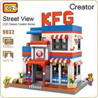 LOZ Diamond Blocks City Street KFC Store LOZ Mini Street View Model Building Kits Fast Food