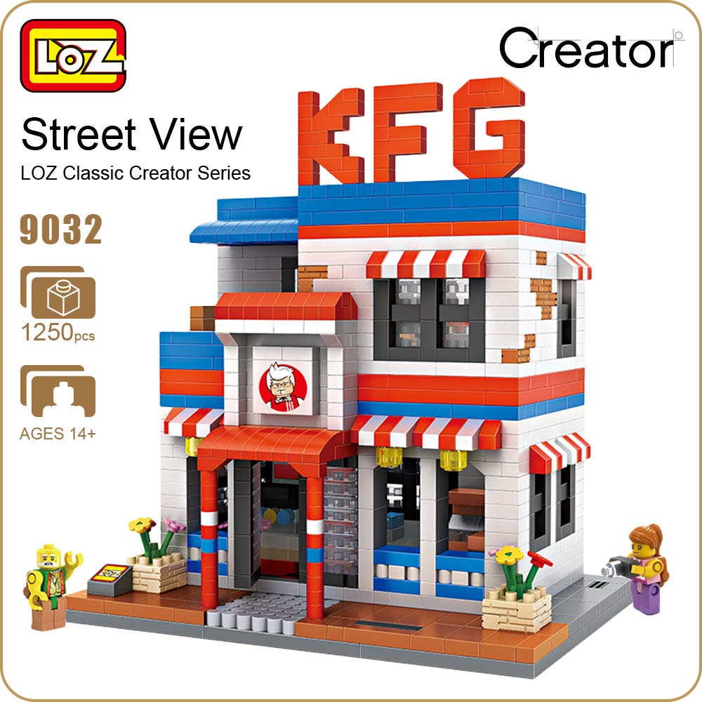 LOZ Diamond Blocks City Street Store Restaurant Mini Street View Model Building Kits Fast Food Shop DIY Educational Gift 9032 loz street view architecture building brick 303pcs