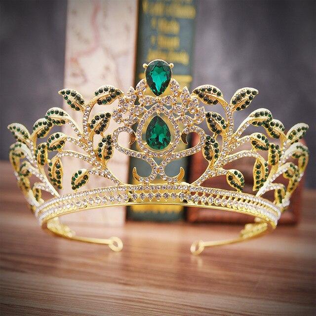 Gold Green Color Princess Hair Tiaras Bridal Headpiece Women Crystal Crown  Hair Ornaments Wedding Hair Jewelry 10355cf0b8a7