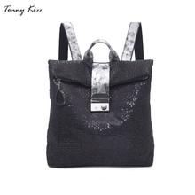 Tonny Kizz square backpack women leather shoulder bags fashion bagpack high quality school for teenage girls mochila mujer