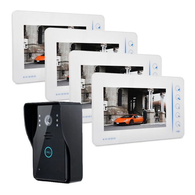 Video Door Phone Doorbell Touch Button Unlock 1 Outdoor 4 Monitor Security  CCTV Camera Video Intercom