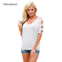 YIRANSHINI Summer Casual Short Sleeve O Round Neck Floral Printed Womens Sexy T Shirt Hollow Out