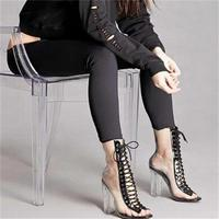 New Summer Sandals Sexy PVC Transparent Gladiator Sandals Cross Strappy Peep Toe Shoes Clear Chunky Heels