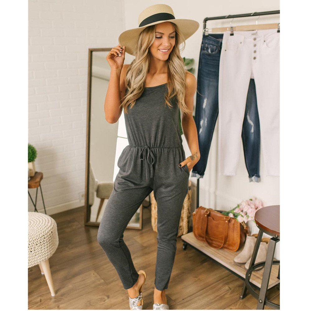 New Arrival Summer Sexy Strap Sleeveless Lace Up Jumpsuits 2019 Women Clothes Solid Casual Slim Black Gray Long Romper Female XL