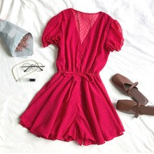Summer Beach Wear Playsuits Jumpsuits Lace Up Women Puff Sleeve V-Neck Lady Rompers Elegant Waist Drawstring Loose Overalls white stripe pattern roll neck long sleeves drawstring waist playsuits
