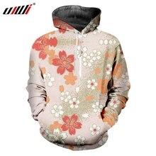 UJWI New Japan Harajuku Ukiyo-e Mens Loose Hoodies Man Favorite 3D Flower Creative Printed Scenery Theme Sweatshirt