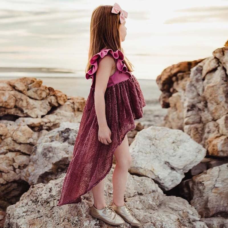 Kids Baby Girl Dress Summer Beach Irregular Sundress Girls Lace Party Pageant Dresses Clothes Dress Girl 6M-4Y Infant Bobo Bebe