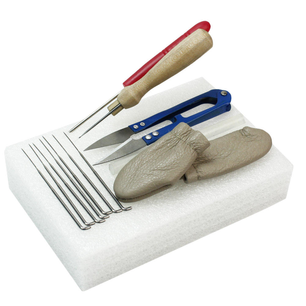 1 Set Wool Felt Tools Needle Felting Starter Kits Mat/Scissor/Leather Finger Cots Craft Accessories