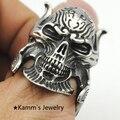 Anéis de aço inoxidável anel homem grande rocha Hip Hop crânio anel Punk Biker jóias eua tamanho KR314