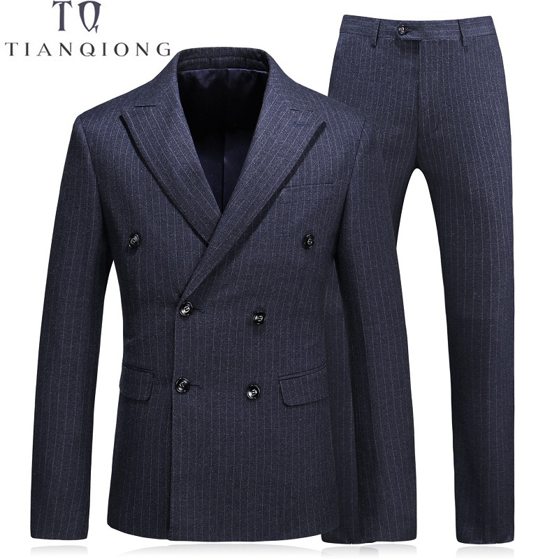 TIAN QIONG 2018 New Arrival Wool Stripe Wedding Suit Dinner Suit Double Breasted Groom Tuxedos Groomsman Suit Custom Man Suit