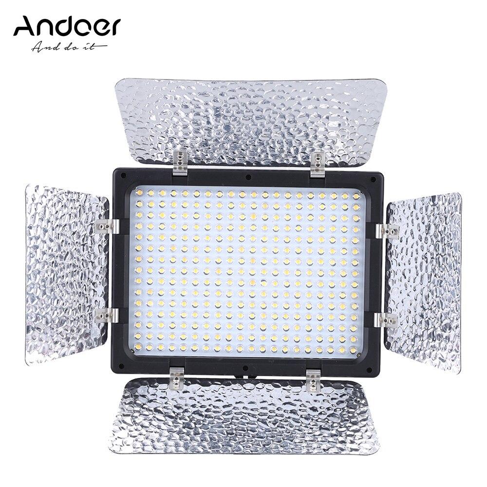 Andoer Photography Lighting Lamp W300 Video Light Panel 300 LEDs Camera Light for Canon Nikon Sony