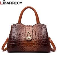 Retro Fashion Female Big Tote Bags Women Designer Alligator Handbag 2018 New Quality PU Leather Lock Shoulder Messenger Bags Sac