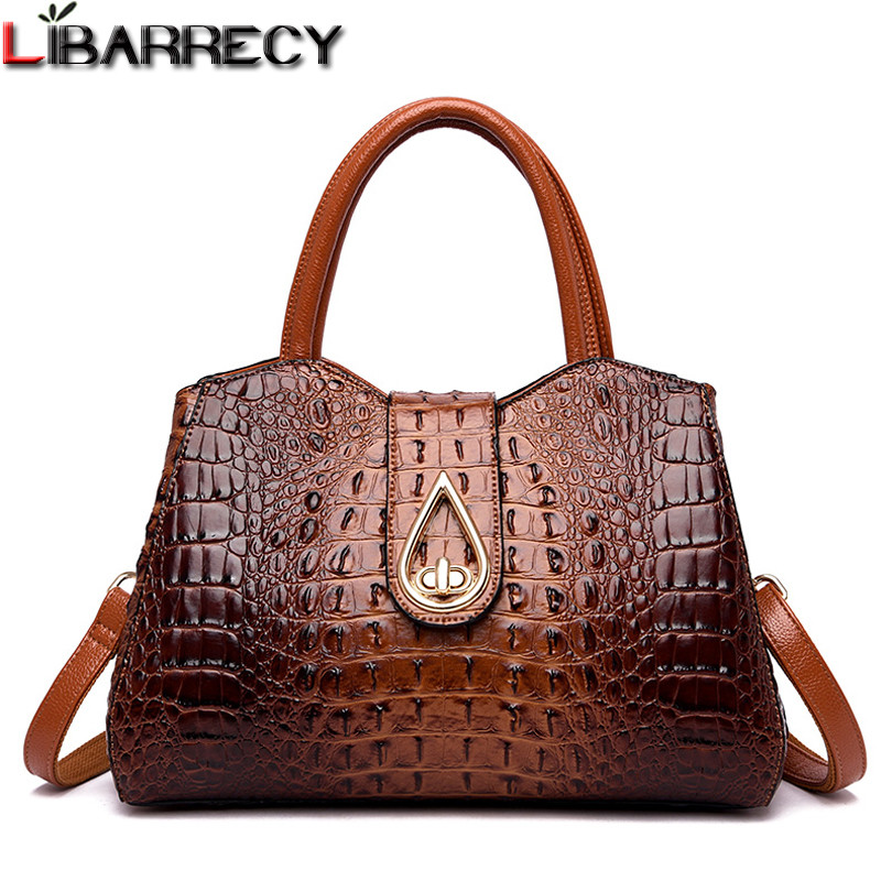 Retro Fashion Female <font><b>Big</b></font> Tote <font><b>Bags</b></font> <font><b>Women</b></font> Designer Alligator Handbag <font><b>2018</b></font> New Quality PU Leather Lock <font><b>Shoulder</b></font> Messenger <font><b>Bags</b></font> Sac image