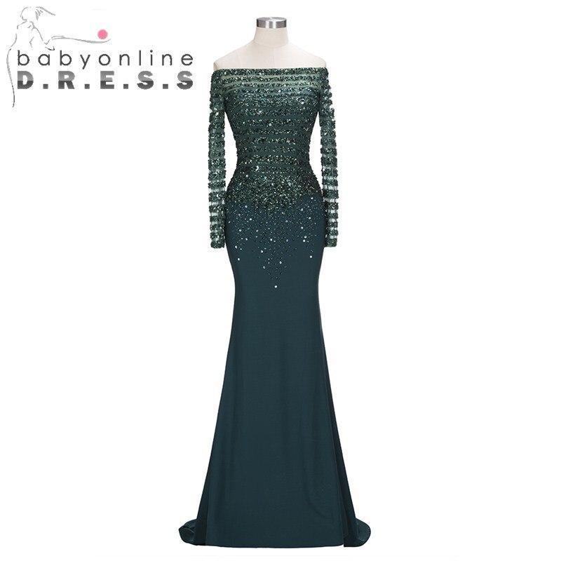 Elegant Off Shoulder Boat Neck   Prom     Dress   Long Sequined Crystal Mermaid Evening   Dresses   Vintage Sweep Train Chiffion Vestidos