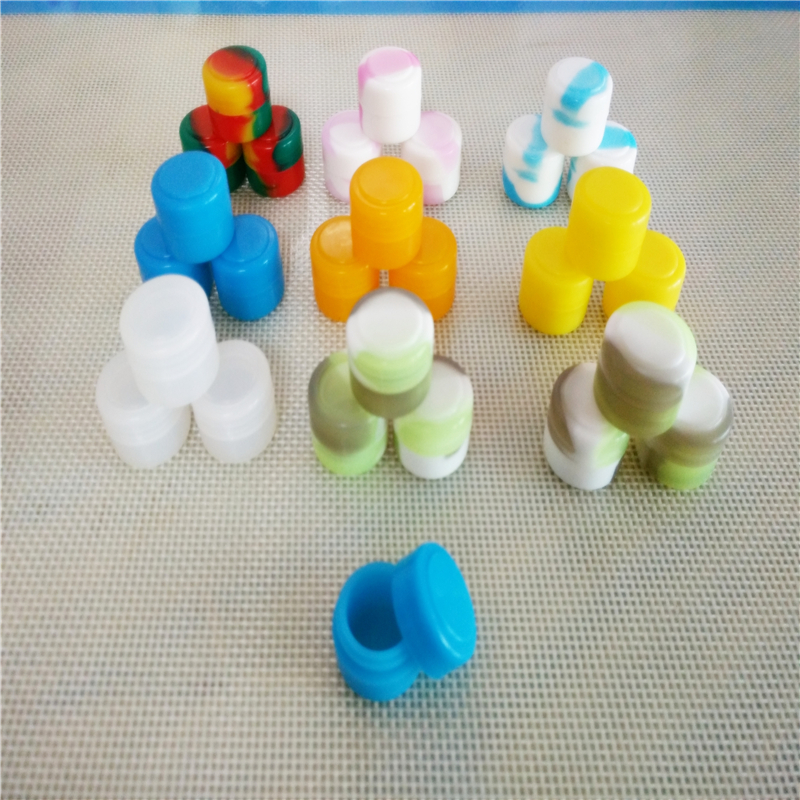 500 X Colorful Silicone Container 2 Ml Wax Dry Herb Jars Dab Round Shape For Dry Herb Oil Wax Vaporizer E Cigarette