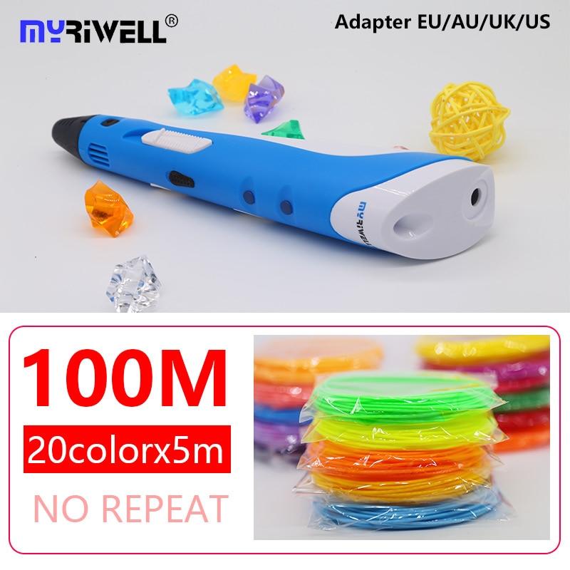 цена на Myriwell 3d pen abs 1.75mm filament 3d printed pen 3 d pen diy Painting tools Smart 3D Printing Pen Handle with 100M Filament