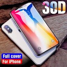 30D 保護ガラス iphone 5 × XR XS 最大フルカバー強化ガラス 7 8 6 6 s スクリーンプロテクター湾曲したエッジ