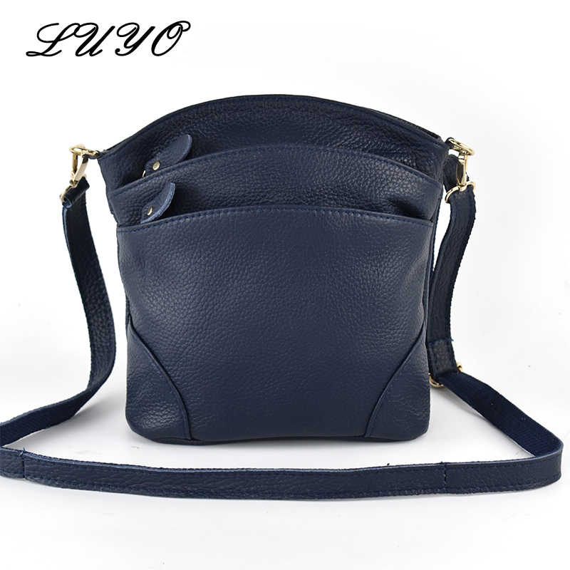 LUYO First Layer High Quality Genuine Cow Leather Shoulder Bags Flap Women Mummy Casual Messenger Bag Handbag Female Crossbody