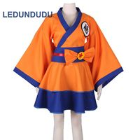 Customized Anime Dragon Ball Z GoKu Cosplay Costumes Goku Lolita Clothes Suit Women Kimono Dress for Halloween